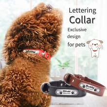 Personalized Dog Collars Engraved Anti-Lose PU Leather Pet Products Customized Durable and Padded Supplies with ID tag