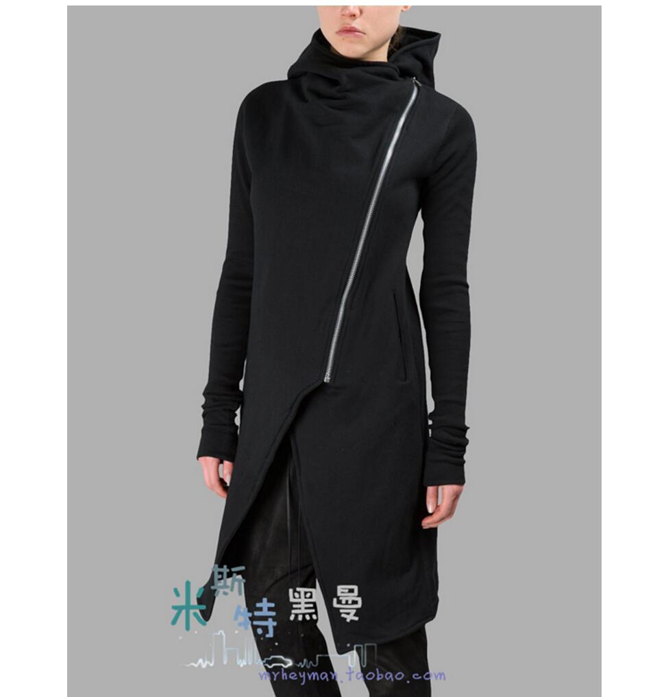 S 5xl primavera e outono homens de malha com um capuz outerwear frente mosca irregular varredura longa camisola irregular longo casaco hoodies