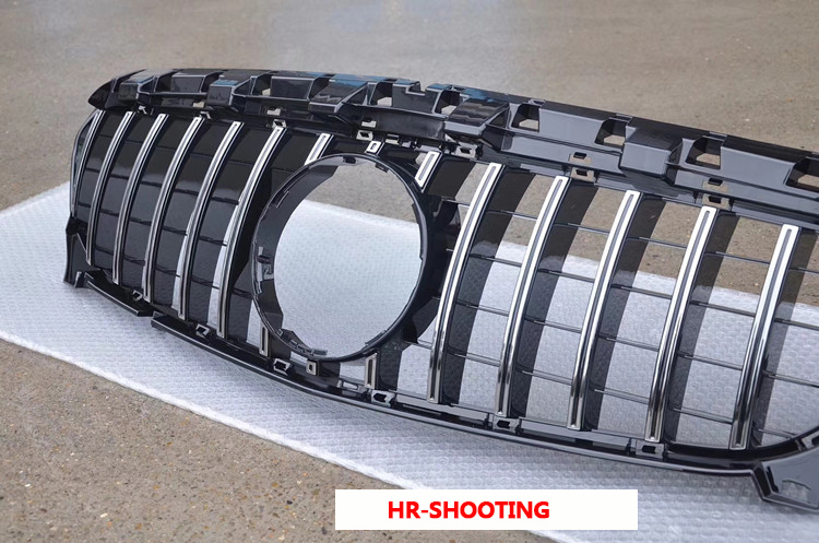 W205 GTR Grille Chrome Front Bumper Mesh GT R Grill for Benz W205 C-Class 2015+ Car Styling with/No Camera hole