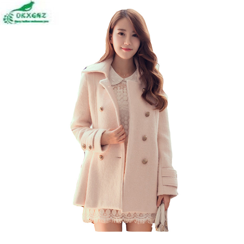 Autumn winter new Korean fashion woolen Outerwear women's medium long section large size high-end Slim jacket coat female OKXGNZ