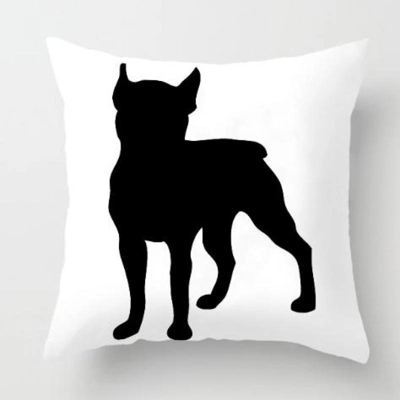 Black White Pillow Dog Plush Fabric French Bulldog Cushion Animal Famous Silhouette Germany Figure Almofada Decorativa For Car Almofada Decorativa French Bulldog Cushionbulldog Cushion Aliexpress