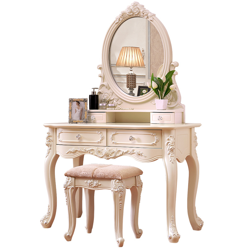 Furniture dresser bedroom small modern minimalist French carved Princess mini European make-up table cut the nordic modern minimalist dresser bedroom flip multi functional dressing small apartment mini make up table