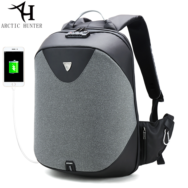 ARCTIC HUNTER School Backpacks Men Waterproof Casual Travel Business Usb I/O Computer BackPack Anti-theft Fashion Shoulder Bags arctic hunter design backpacks men 15 6inch laptop anti theft backpack waterproof bag casual business travel school back pack