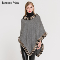 New Arrival Autumn Winter Real Rex Rabbit Fur Poncho Women High Quality Cashmere Shawls S7353