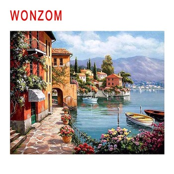 WONZOM Island Town Diy Painting By Numbers Boat House Oil Painting Cuadros Decoracion Acrylic Paint On Canvas Modern Wall Art