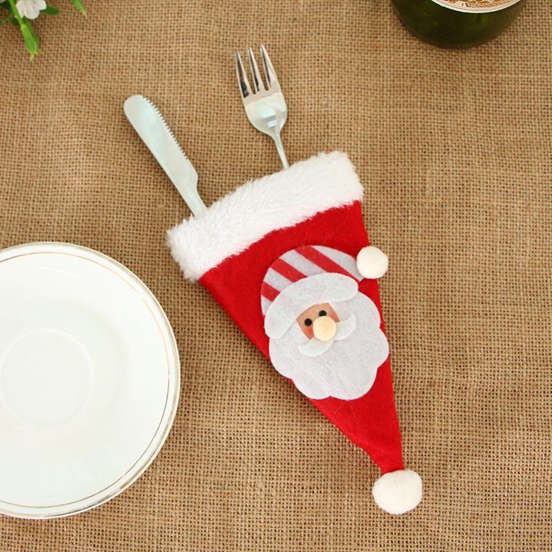 Шляпа Санты, олень, Рождество, Год, карманная вилка, нож, столовые приборы, держатель, сумка для дома, вечерние украшения стола, ужина, столовые приборы 62253 - Цвет: H10
