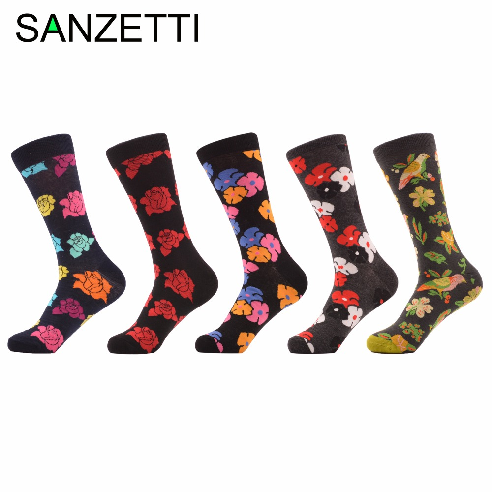 SANZETTI 5 pairs/lot Novelty Mens Combed Cotton Black Background Vintage Flowers Birds Casual Crew Dress Socks size us 7.5-12