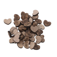 50pcs Lovely Heart Shape Wooden Pieces Cutouts Craft Embellishments Wood Ornament Manual Accessories For DIY Art (Baby Shower)(China)