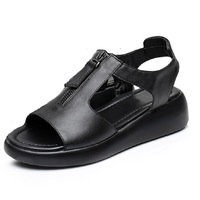 Women Sandals Plus Size 34 42 Genuine Leather Platform Thick Heel Summer Shoes Black Red White
