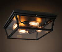 Retro Industrial Loft Vintage Ameican Glass Box Square led Ceiling Light Bedroom Living Room Balcony Home Decor Lighting Fixture