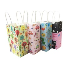 40pcs/lot Shopping Gift Packing Bag Cute Animal Paper Bags With Handle 13*22*8cm Birthday Party Holiday Recyclable Multifuntion