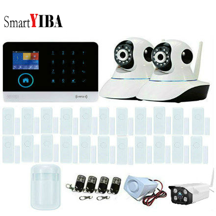 SmartYIBA APP Remote Control RFID card Arm Disarm Outdoor/Indoor IP Camera Wireless GSM SMS Home Security Burglar Alarm System smartyiba 3g wifi alarm system app remote control burglar arm disarm ip camera solar powered siren pet immune pir alarm kits
