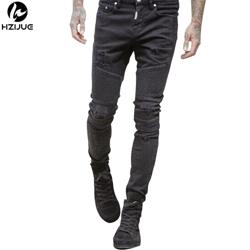 HZIJUE High-Street Mens Ripped Rider Biker Jeans Slim Fit Washed Black Grey Blue Moto Denim Pants Joggers For Skinny Men skinny biker jeans men hi street ripped rider denim jeans motorcycle runway slim fit washed moto denim pants joggers jw104