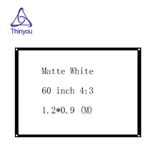 Thinyou Factory sales 60 inch 4:3 Matt White Projector HD Screen Movie Front without Frame with eyelets pantalla proyector