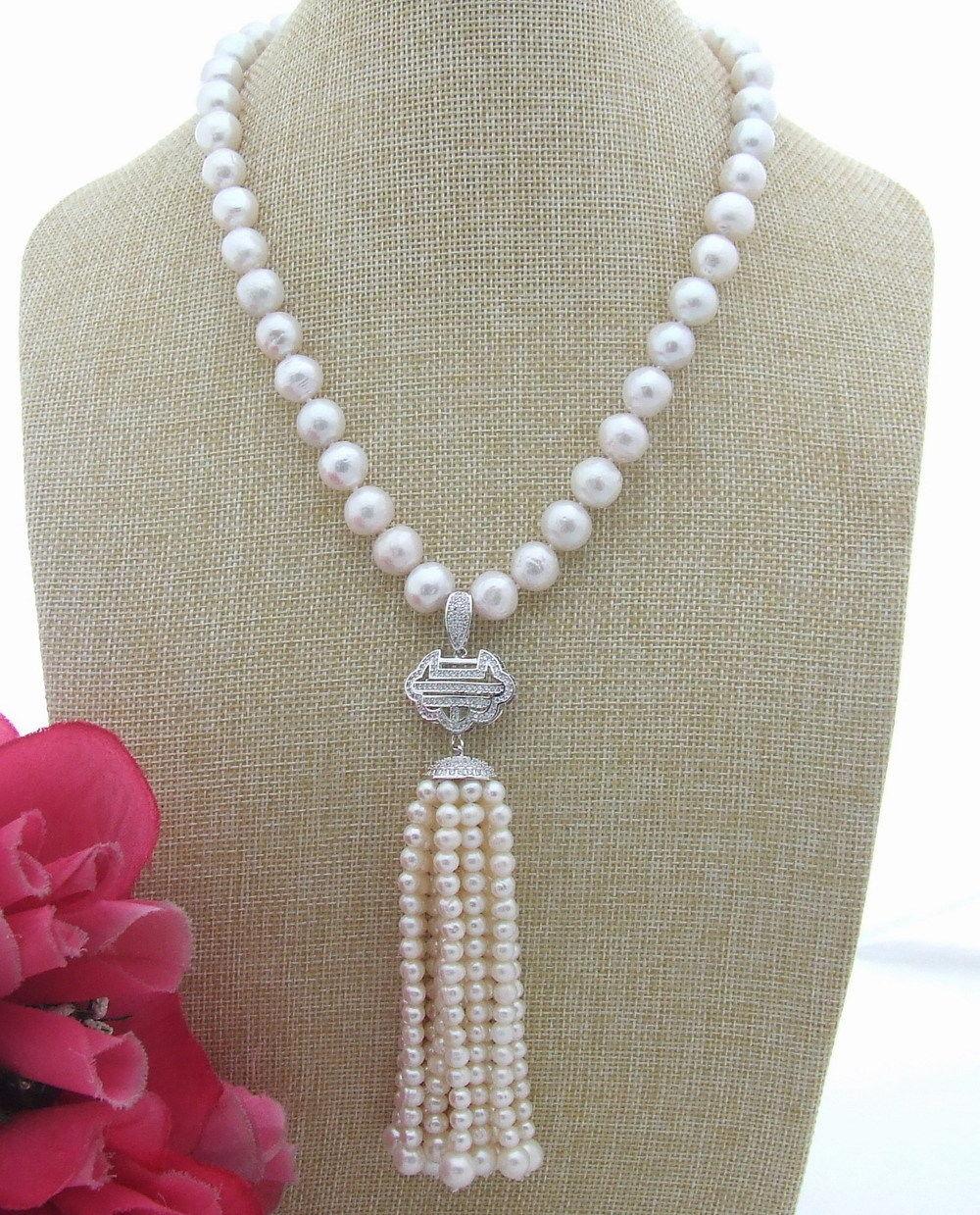 FC032103 20 Natural White Keshi Pearl CZ Pendant NecklaceFC032103 20 Natural White Keshi Pearl CZ Pendant Necklace