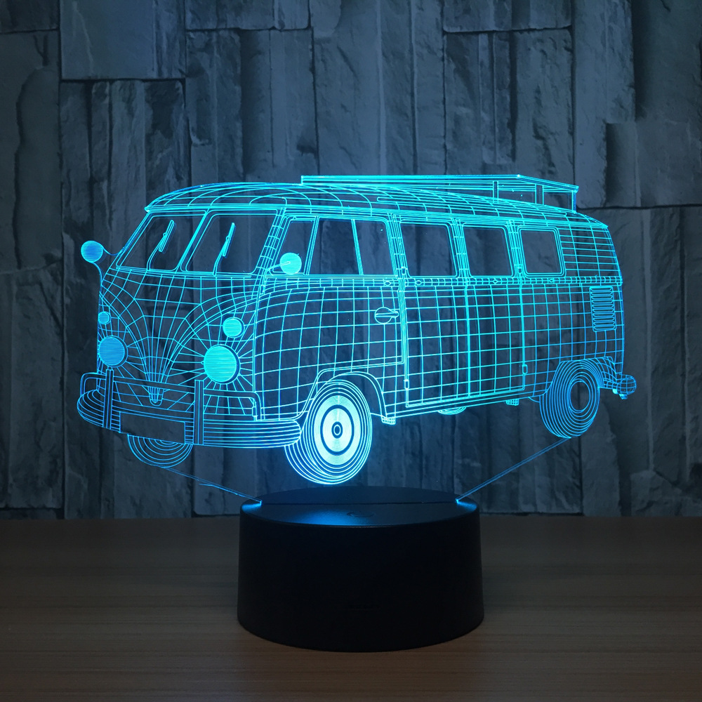 3d Visual Illusion Camping Bus LED Lamp Transparent Acrylic Night Light Led Lampa 7 Color Changing Touch Table Bulbing Room Lamp 3d visual shark 7 color changing touch led table night light