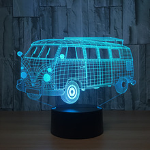 3d Visual Illusion Camping Bus LED Lamp Transparent Acrylic Night Light Led Lampa 7 Color Changing Touch Table Bulbing Room Lamp