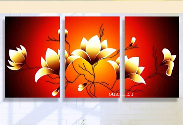 Modern Brief Picture No Frame Home Decorative Painting Handmade Paintings Mural Wall Art Flowers Oil Painting For Bed Room