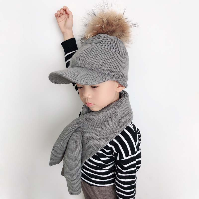 Winter Hat And Scarf Set For Kids Baby Cotton Knitted Baseball Cap Children Real Fur Pompom Beanie Visor Hat