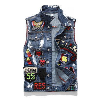 New Embroidered Denim Vests Men Washed Skull Paint Badge Biker Denim Jacket Vest Fashion Men's Clothes