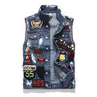 New Embroidered Denim Vests Men Washed Skull Paint Badge Biker Denim Jacket Vest Fashion Men's Clothes