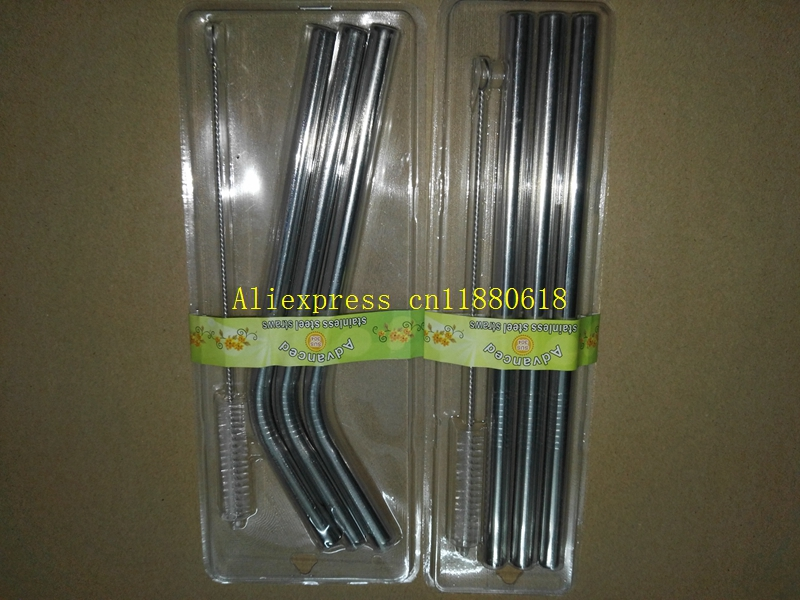 500sets lot Newest 3pcs 8mm x215mm Straight Bend stainless steel drinking straw 1pcs straw brush With