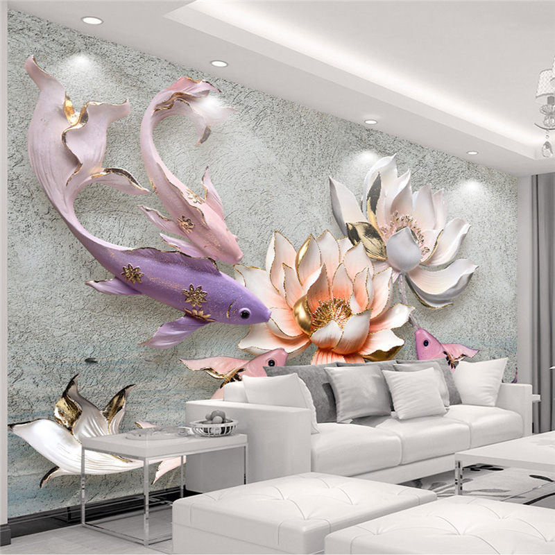 Photo Wallpaper 3D Stereo Relief Lotus Fish Mural Living Room Study High Quality Interior Home Decor Wall Papers Papel De Parede 3d stereo relief peacock flowers mural photo wallpaper living room tv sofa study backdrop art wall paper for walls 3d home decor