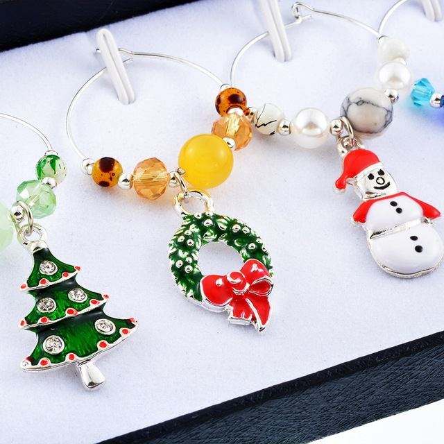 urijk 6pcsbox snowman pendant mixed wine charms christmas decorations table wedding champagne tree new - Christmas Wine Charms
