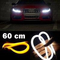SUNKIA-tira Flexible de luces LED de 60CM, tira DRL de luces ámbar, envío gratis