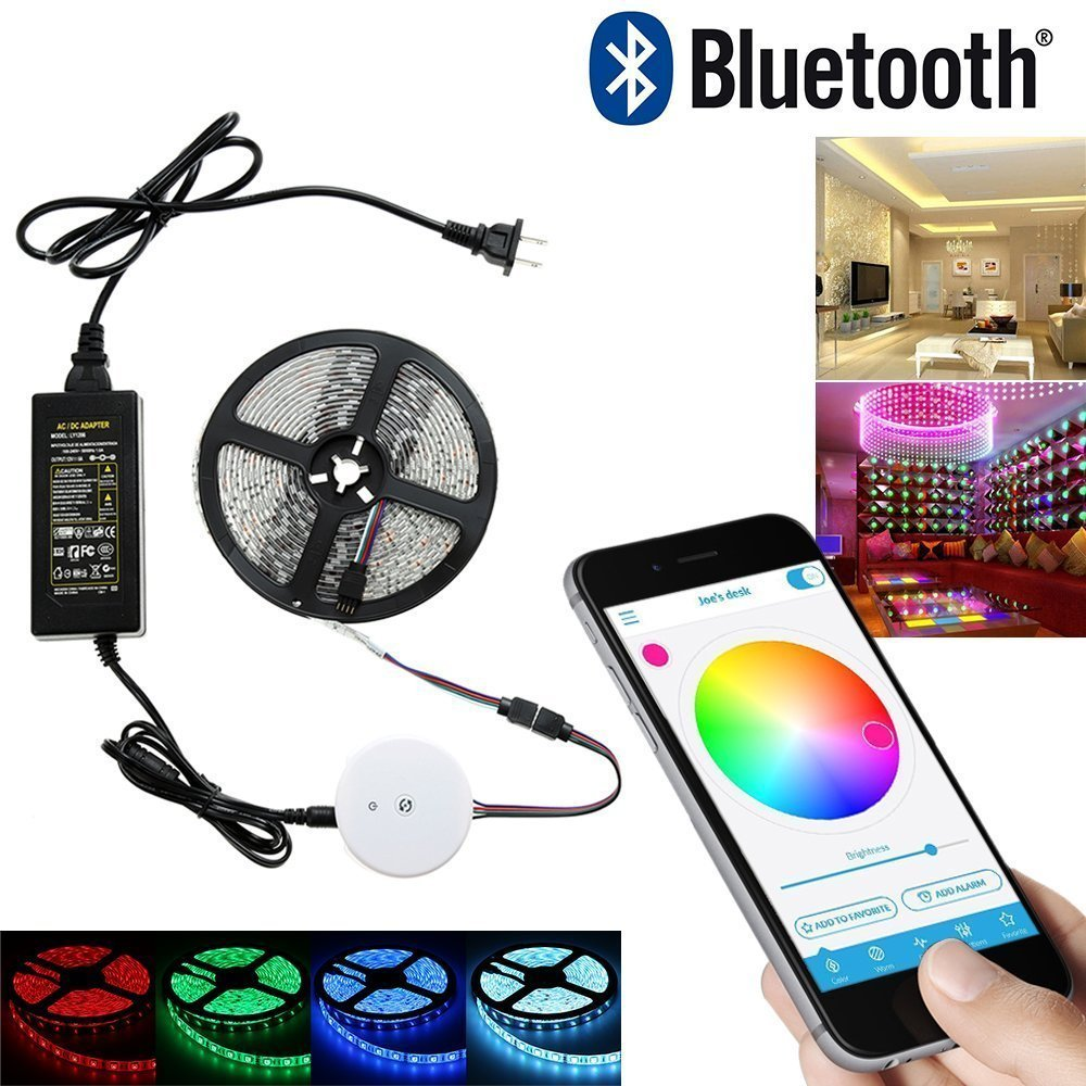 5M 10M 15M 20M RGB Strip light Waterproof 60ledm RGB Rope Ribbon lamp Kit + Bluetooth Smartphone Controller + 24V Power adapter