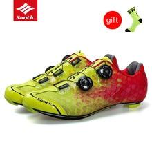 2017 Santic углеродного волокна велосипеде Мужская обувь Сверхлегкий дорожный велосипед Zapatillas MTB обувь PRO Racing Team самоблокирующимся велосипед обувь