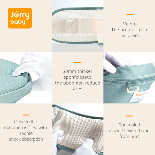 Jerrybaby Baby Carrier Breathable Ergonomic Infant Carrier Front Facing Kangaroo Baby Wrap Sling Baby Waist Stool 0-36 Months
