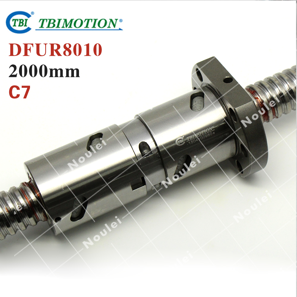 TBI 8010 C7 2000mm ball screw 10mm lead with DFU8010 ballnut Ground for high precision CNC diy kit DFU set tbi 2510 c3 620mm ball screw 10mm lead with dfu2510 ballnut end machined for cnc diy kit dfu set