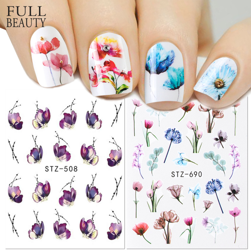 1pcs Floral Slider Water Stickers Decal For Nail Art Transfer Tattoo Flamingo Leaf Gel Manicure Adhesive Decor Tip CHSTZ508 706-in Stickers & Decals from Beauty & Health
