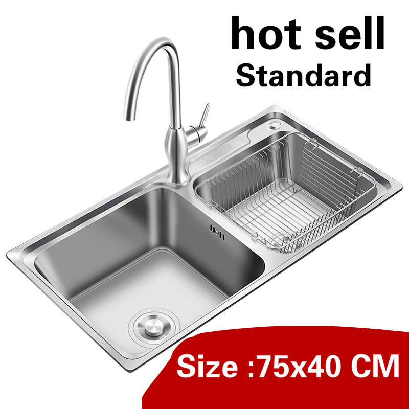 Free Shipping Household Luxury 304 Stainless Steel Standard Kitchen Double Groove Sink Hot Sell 750x400 MM