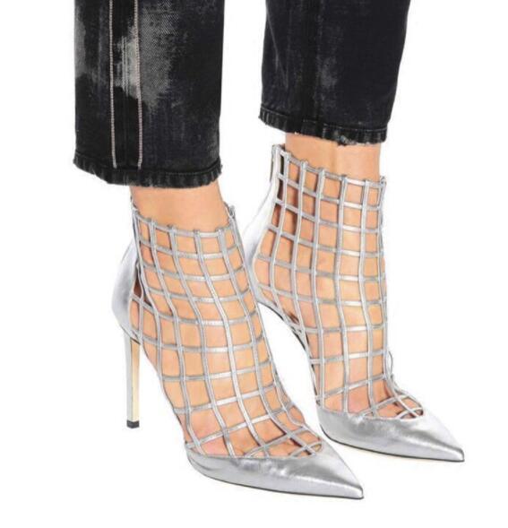 Nouvelle mode Rouge/Blanc lanières en cuir Femmes Sexy Caged bottines Bout Pointu talons pour femmes Bottes Cut Out Femme Stiletto Boot