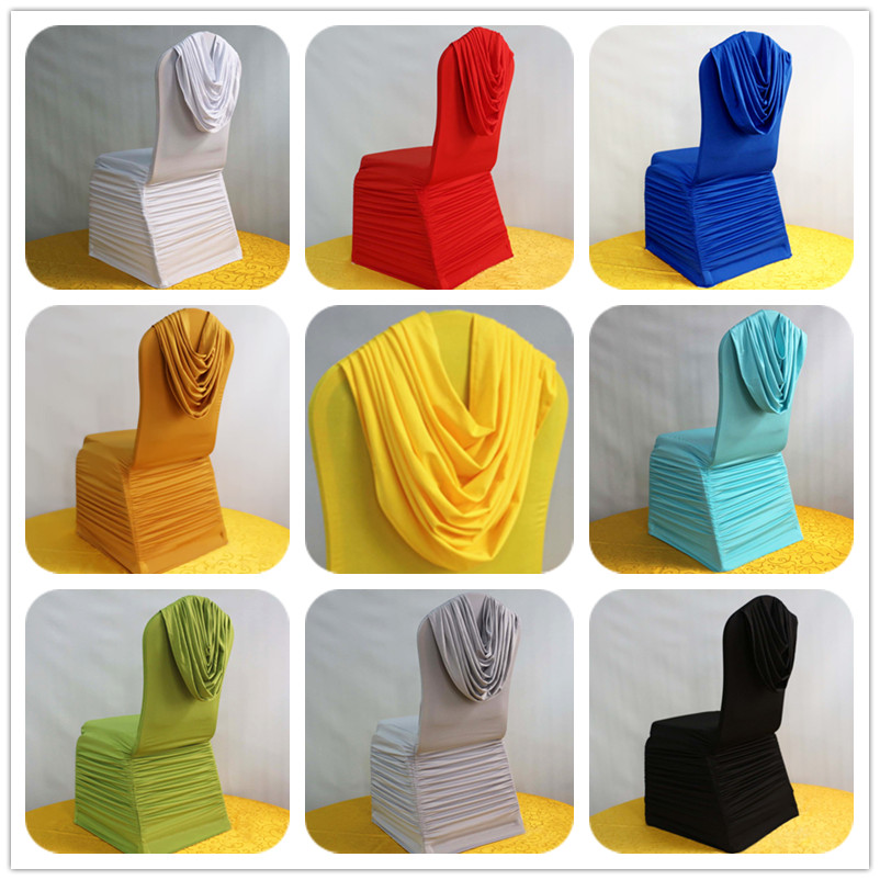 50pcs White Lycra Spandex Ruffled Chair Covers With