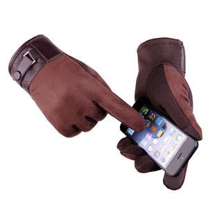 Для мужчин теплые замшевые кожаные перчатки Сенсорный толстые кашемировые мягкие перчатки зимние Открытый Велоспорт ветрозащитный вожден...