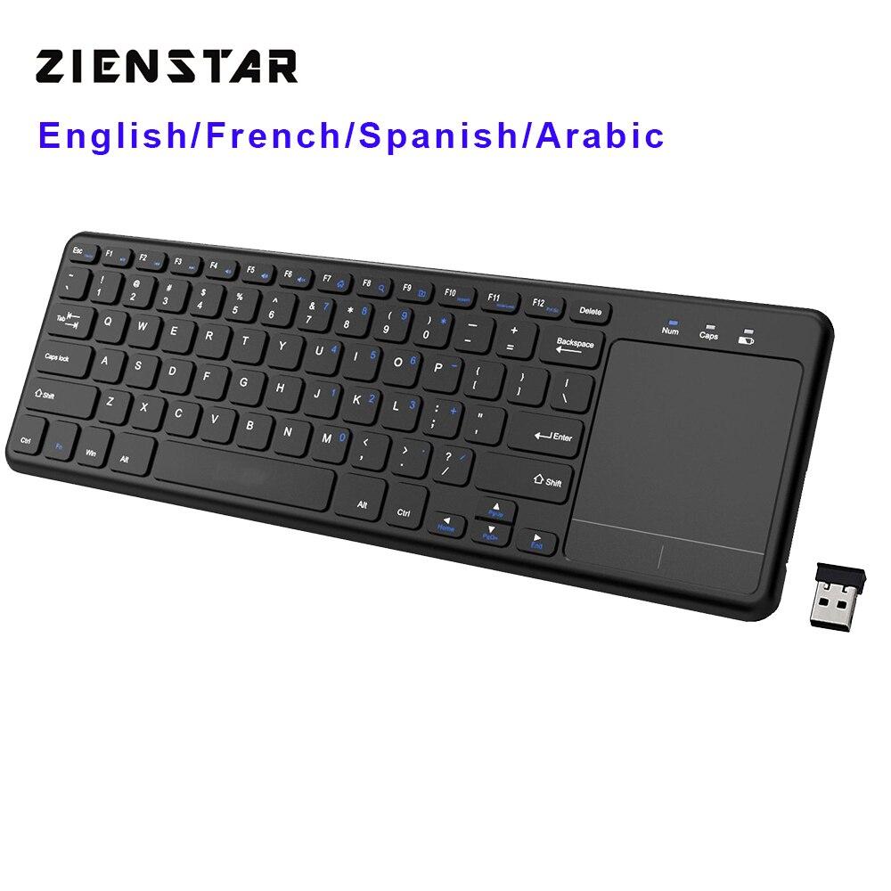 Zienstar2.4Ghz Touchpad Drahtlose Tastatur für Windows PC, laptop, ios pad, Smart TV, HTPC IPTV, android Box, Englisch/Spanisch/Fr/Arabisch