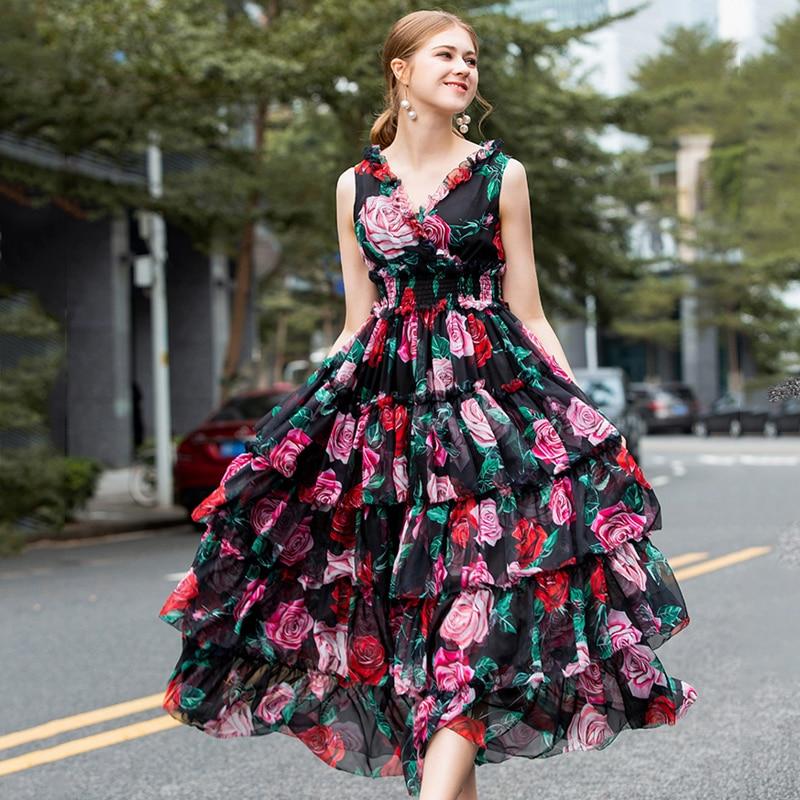 Voile Dress Summer European American Vintage Layered Flare Sleeve Elegant Vintage Bohemian Print Dress