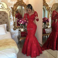 New Design Sheer Lace Red Evening Dress 2017 Elegant Long Sleeves Sarees for Women Formal Dresses Sexy Evening Gowns Pearls