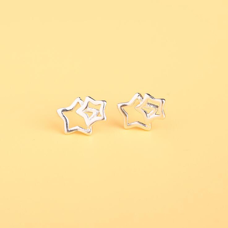 New Double Stars Earrings for Girls Fashion 925 Sterling Silver Boules d oreille femme Women's Trendy Simple Design Stud Earring