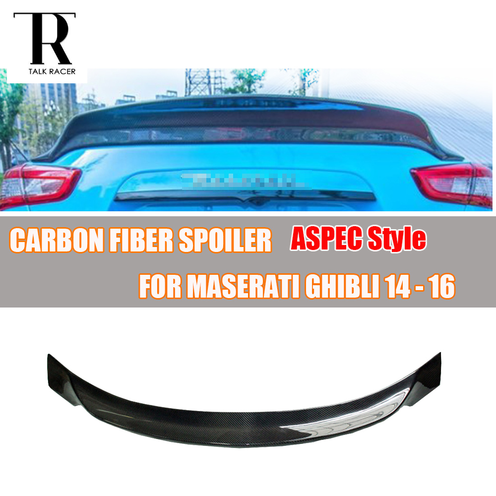for Ghibli ASPEC Style Carbon Fiber Rear Trunk Spoiler Wing for Maserati Ghibli Sedan 2014 2015 2016 Auto Racing Car Styling Lip paint abs car rear wing trunk lip spoiler for 16 17 toyota vios 2014 2015 2016 2017 by ems