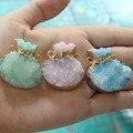 Wholesale Natural 3 Color Unique Bag Shape Druse Pendant  KC Gold  Plated Stone Pendant DIY Fit Necklace For Jewelry Making