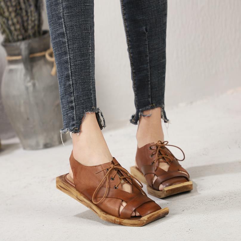Genuino Zapatos Casuales Baotou Mujeres Personalidad Coffee Nuevos Hechos 2019 Verano Mano Retro Planos Las Cuero A Cómodo De Sandalias EY6qBnx