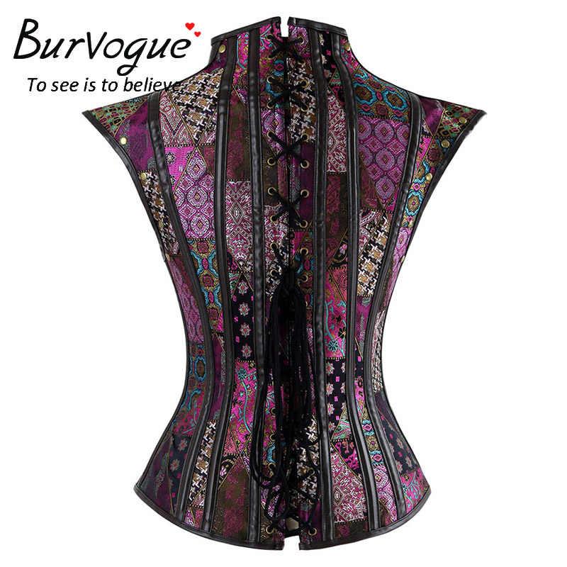 Burvogue Сексуальная стимпанк женская блуза Готический 12 стальной корсет с косточками Overbust кожаный костюм на Хэллоуин вечерние корсеты и бюстье