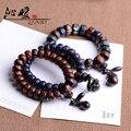 Men lightning black cherry wood carving Heart Sutra Sanskrit mantra prayer beads bracelets natural hand on wooden barrel bead
