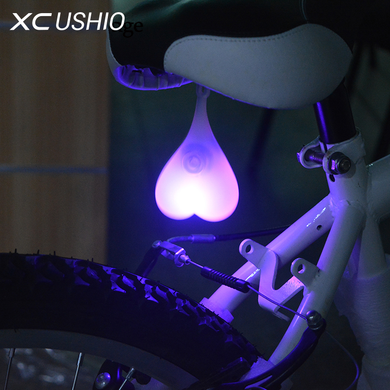 2017 Silicone Waterproof Bicycle Led Lamp Mountain Bike Cycling Night Warning Rear Light Bicycle Accessorie Tail Egg Heart Light