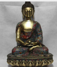 zmrui 18 Tibet Buda de Bronce de Cobre Cloisonne Gild Shakyamuni Tathagata Buda Estatua copper decoration bronze factory Pure Br(China)