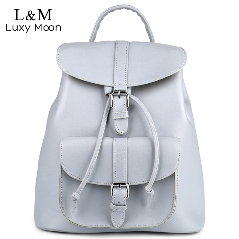 Women Backpack Vintage Leather Backpacks Drawstring Black Rucksack Brand Shoulder Bags For Teenage Girls Grey School Bag XA950H new printing pu leather backpack women shoulder rucksack university bags for teenage girls designer brand korean femme